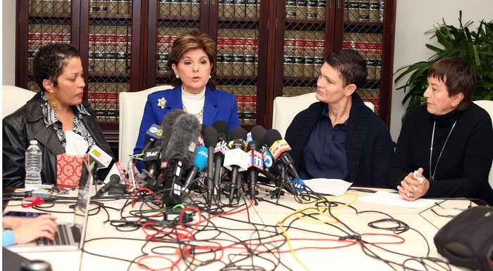 Cosby accuser Chelan, attorney Gloria Allred, Cosby accuser Beth Ferrier, and Cosby accuser Helen Hayes during a press conference on Dec. 3, 2014, in Los Angeles.