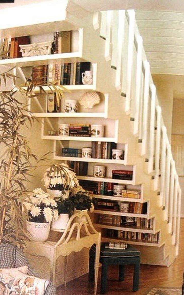 Or tiered shelves that mirror your steps.