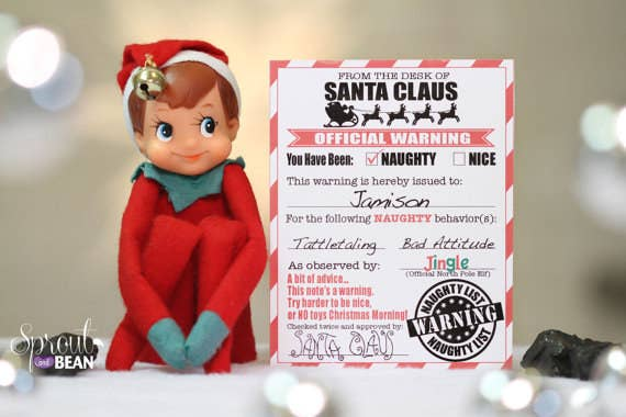 18 printables to seriously up your elf on the shelf game a warning letter from santa spiritdancerdesigns Gallery