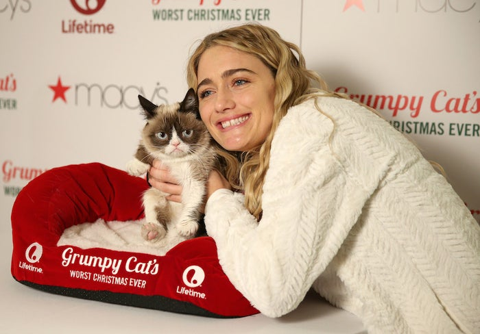 Lifetime celebrates Grumpy Cat's Worst Christmas Ever with Grumpy Cat and Tabatha Bundesen at Macy's Herald Square on Nov. 23 in New York City.