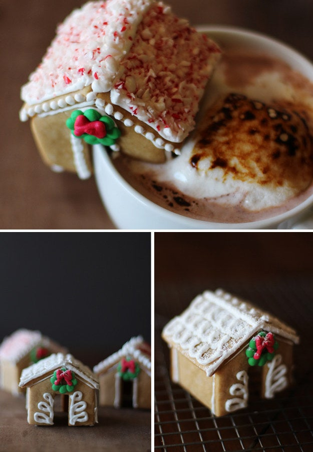 This calls for a paper template and seems pretty darn tricky. That said, if you sip your hot chocolate out of a mug that is adorned with a homemade mini gingerbread house, you officially win Christmas. Recipe here.