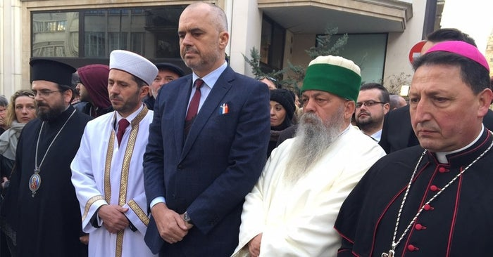 Pictured with Minister Edi Rama (centre) are the leaders of Albania's four biggest religious communities: Orthodox, Muslim, Bektashi and Roman Catholic. The leaders joined a crowd of more than a million for the biggest march in French history.
