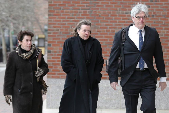 Defense attorneys Miriam Conrad, Judy Clarke, and Timothy Watkins arrive at the federal courthouse on the second day of jury selection.