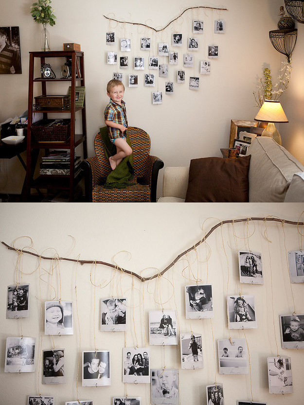Add a little rustic charm by dangling polaroids from a fallen branch.
