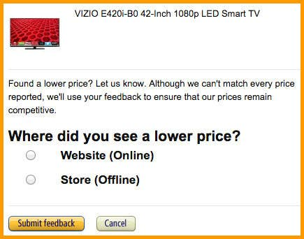 How It Works: Let's say you finally saved up to buy that big TV or that cell phone from Amazon, only to see it for a lower price at some other store like Best Buy or Costco. Amazon's price matching policies for TVs and phones allows you to get a refund for the difference between the new price you saw and the price you paid.Things To Remember: To get your money back for the difference on a TV or phone, Amazon requires you to contact its customer service by phone or chat 14 days after shipping. If you don't have time to talk to someone, you can also email Amazon for a response and refund information within 24 hours.
