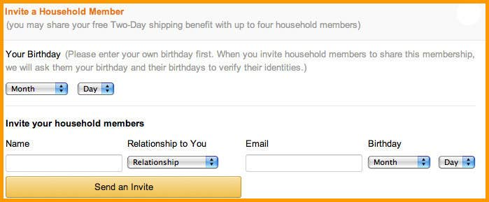 Share your Amazon Prime two-day shipping with four other people.