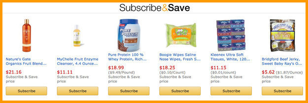 Save money and time by subscribing to items you buy regularly.