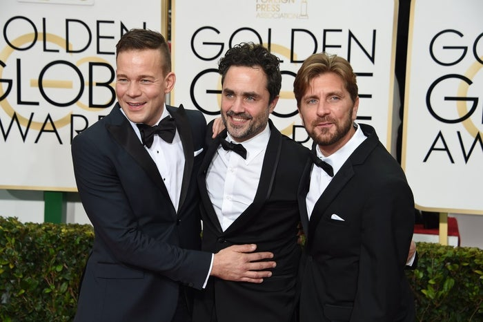 (This is Kuhnke with producer Erik Hemmendorff and writer-director Ruben Östlund at the Globes on Sunday.)