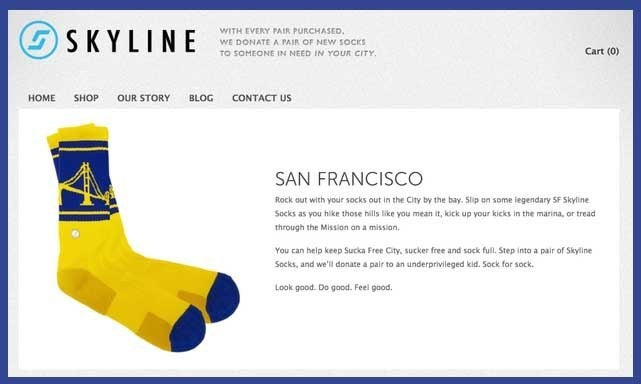Skyline sells socks with the skylines of major American cities. For each pair purchased, a pair of socks will be donated to someone in that same city. See them all here.