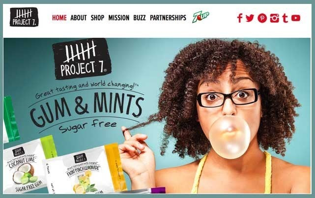Project 7 sells gum, snacks, bottled water and clothing. For each product purchased they make a corresponding donations for things like fruit trees, meals, digging wells, and providing education. Products are available in many retail stores, as well as on their website.