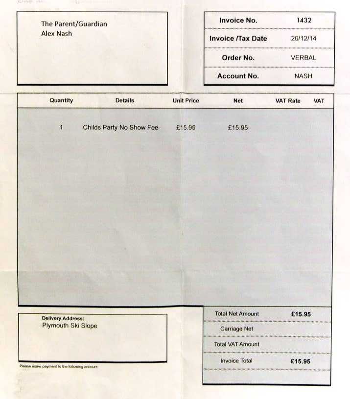 How To Make A Invoice Free Excel This Boy Was Sent An Invoice When He Missed A Birthday Party Hyundai Invoice Prices Word with Aia Invoicing Then On  January This Was Put In Alexs Schoolbag By A Teacher At The  Request Of The Birthday Boys Mum Derek Said He Thought It Was A Joke At  First Scan Receipts Into Quicken