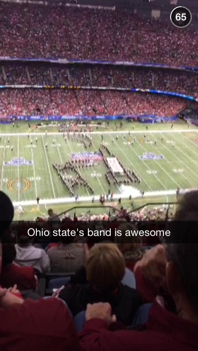 This snap was on the Snapchat Story for the CFB Semifinals. This spectator liked the band!