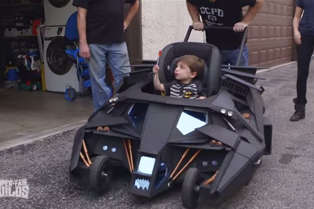 This Boy Has A Batmobile Stroller And He Is The Hero