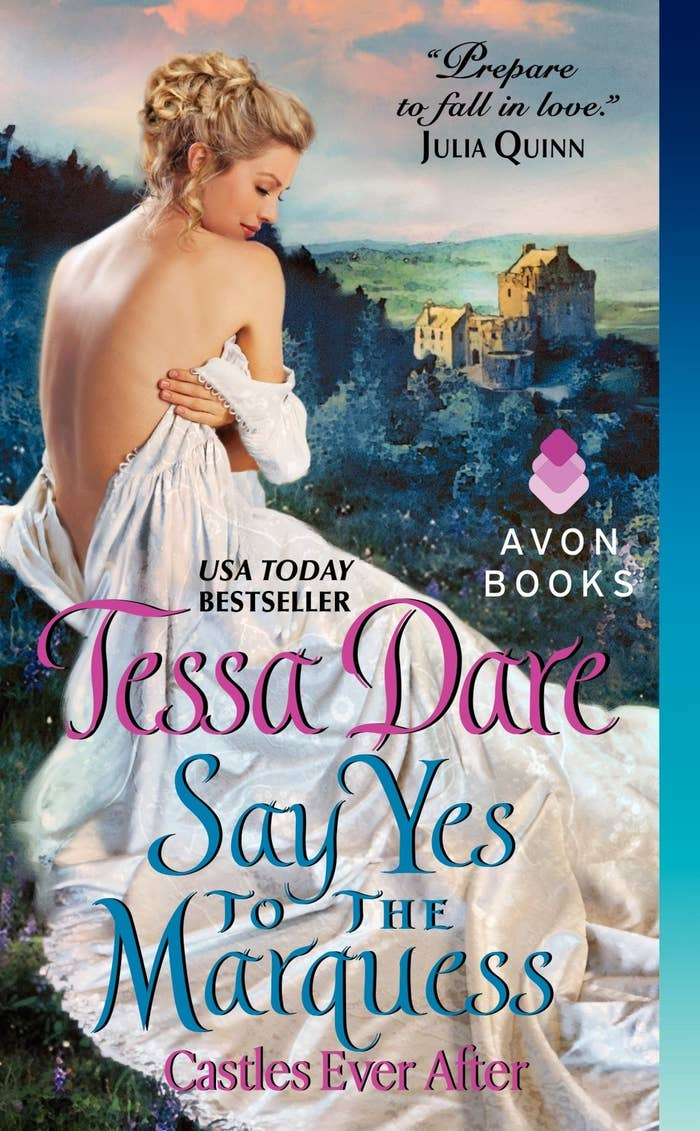 You know you're a true bibliophile if you feel giddy when you get to read a book before it goes on sale. So when Say Yes to the Marquess landed in my inbox last Thanksgiving (a full month before it reached bookstores)... well, let's just say I let out a squeal worthy of any true fangirl. And, as usual, Tessa Dare did not disappoint.Clio Whitmore made the match of the decade when she was betrothed at the age of 17 to Piers Brandon, the heir to the Marquess of Granville. Problem is, now she's 25 and he still hasn't married her. A rising superstar in the field of diplomacy, Piers has been dashing about Europe, doing all sorts of important things while Clio waits. And waits.And waits.When Clio unexpectedly inherits a castle, she decides she's sick of being a laughingstock, and she asks Piers's younger brother Rafe to sign the papers that will dissolve the engagement. After years of trying — and failing — to meet his father's exacting standards, Lord Rafe Brandon has turned his back on society and become a hardened rake and champion prizefighter. He has no intention of letting Clio back out of her engagement, and with Piers due to finally return home, Rafe vows that the wedding will proceed as scheduled — even if he must plan it himself!I adore Clio, with her common sense and determination to finally take charge of her life. And Rafe... oh, Rafe... he's strong and he's principled and he's so determined to do the right thing even as he's falling in love with his brother's fiancée. If you can finish Say Yes to the Marquess without falling in love with Rafe... No, scratch that. You can't finish this book without falling in love with Rafe. It simply isn't possible.
