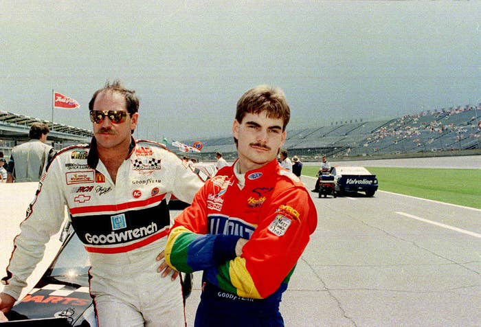 "The mustache, shown here in 1993 with Dale Earnhardt, returned in grayer form for 10 days in 2012. It still wasn't the best look. Said teammate Dale Earnhardt Jr: ""If you look back at them pictures, I'm not sure why he decided to grow it back. Maybe he lost a bet or something."""