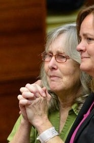 ]Susan Mellen, left, sits with her attorney Deirdre O'Connor, as she is exonerated of murder in Torrance, Calif. in October 2014. Mellen spent 17 years in prison after being convicted of murder in the death of a homeless man in 1997.