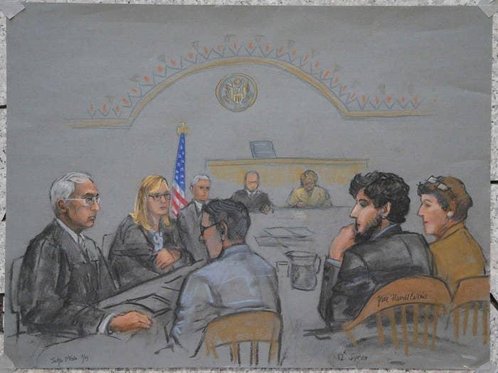 A sketch of Boston Marathon bombing suspect Dzhokhar Tsarnaev in court on Jan. 15.