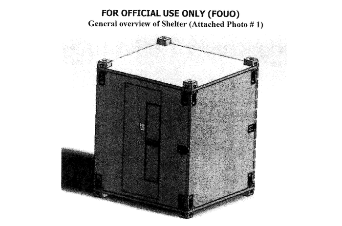 Army drawing of a detainee shelter that could be sent to combat operations.