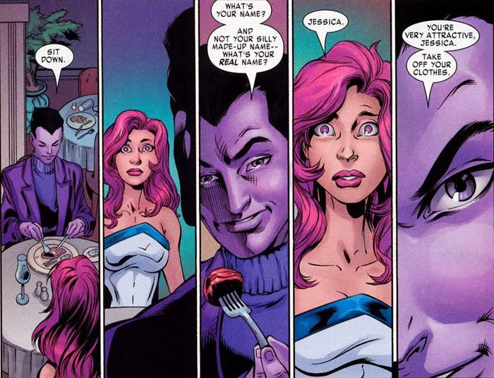 """The Purple Man and Jessica Jones — here in her identity as superhero """"Jewel"""" — come face to face in Brian Michael Bendis' Alias."""