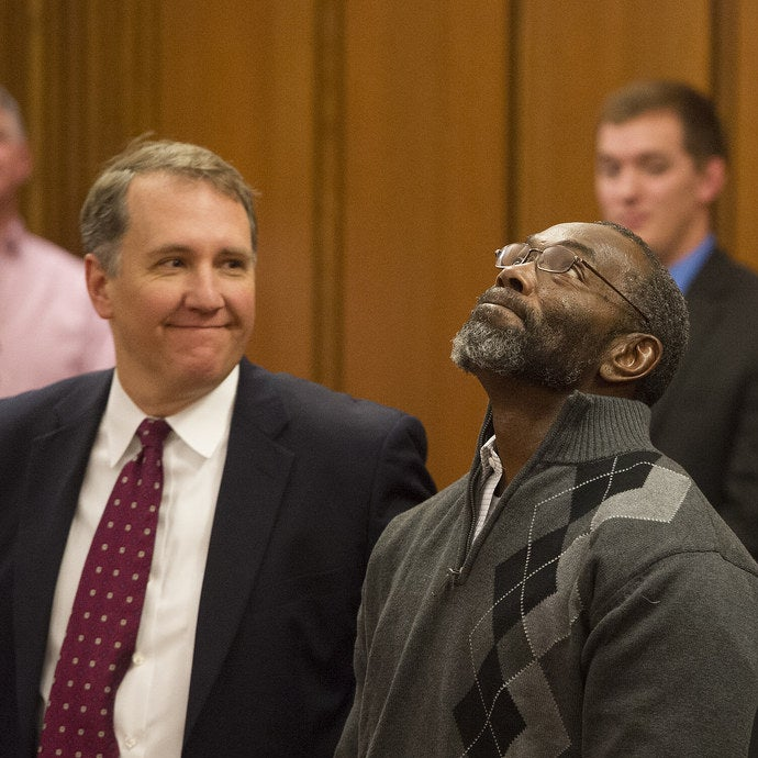 Ricky Jackson, 57, looks up after being released from his life sentence for a 1975 murder on Nov. 20, 2014 in Cleveland.