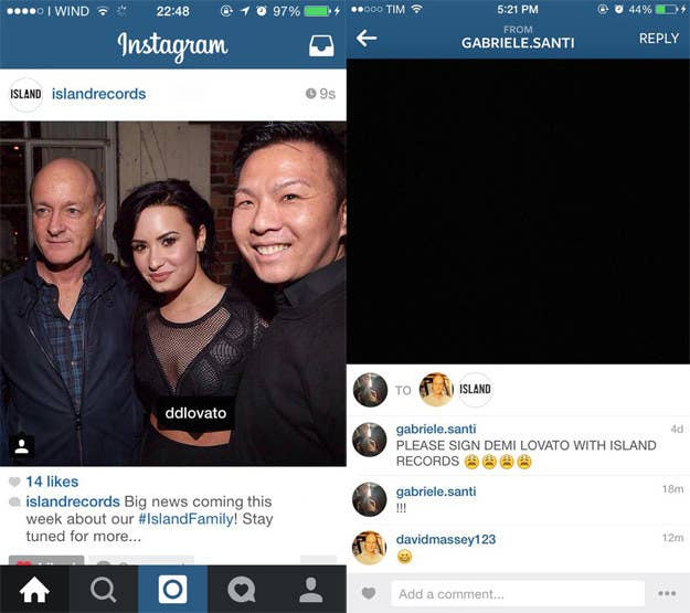 """According to fans, the image on the left is a screenshot of a teasing announcement made by the official Island Records' Instagram account. Allegedly uploaded for a brief time before being taken down, the post features a picture of Lovato posing with Island executives David Massey and Eric Wong as well as the caption """"Big news coming this week about our #IslandFamily! Stay tuned for more."""" It circulated on Twitter along with the screenshot on the right, which is supposed to be proof of an Instagram conversation between a fan and Island Records president David Massey. Together, the images sparked rumors that Lovato is leaving Hollywood Records to sign with Island."""