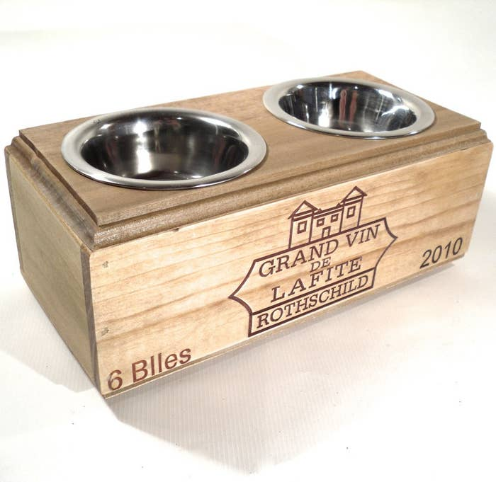 Wine Box Feeding Station with Removable Stainless Steel Bowls, $50.00