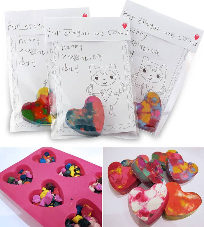 A craft project for you and your child (making the crayons and the cards) along with your child's classmates (coloring in the card itself): Hurray for art!