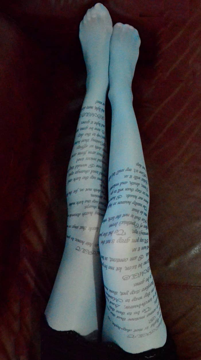 Romeo and Juliet Text Tights, $24.90