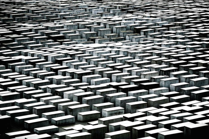 """Some of the 2,711 polished marble blocks or """"stellae"""" that comprise the Memorial to the Murdered Jews of Europe in Berlin, Germany."""