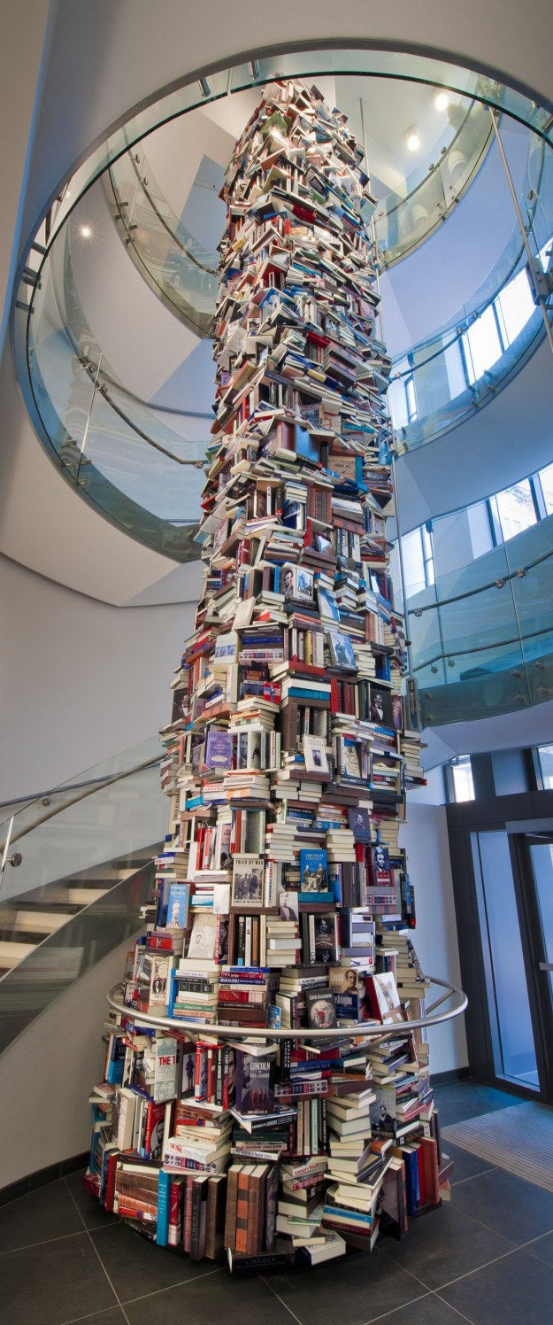 Q: How would a stack of e-readers convey the enormity of Lincoln's influence?A: Digital biographies would fall short.