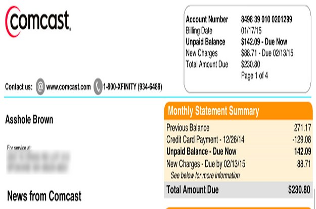 """Comcast Changes Guy's Name To """"Asshole"""" After Wife Tries To"""
