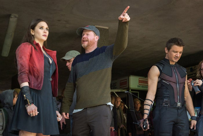 Elizabeth Olsen, director Joss Whedon, and Jeremy Renner on the set of Avengers: Age of Ultron