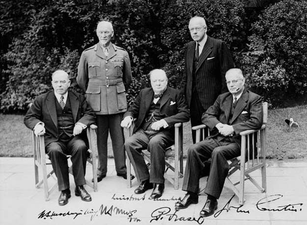 Commonwealth Prime Ministers' Conference in 1944 - Rt. Hon. W.L. Mackenzie King (Canada), General Jan Smuts (South Africa), Rt. Hon. Winston Churchill (United Kingdom), Rt. Hons. Peter Fraser (New Zealand) and John Curtin (Australia)
