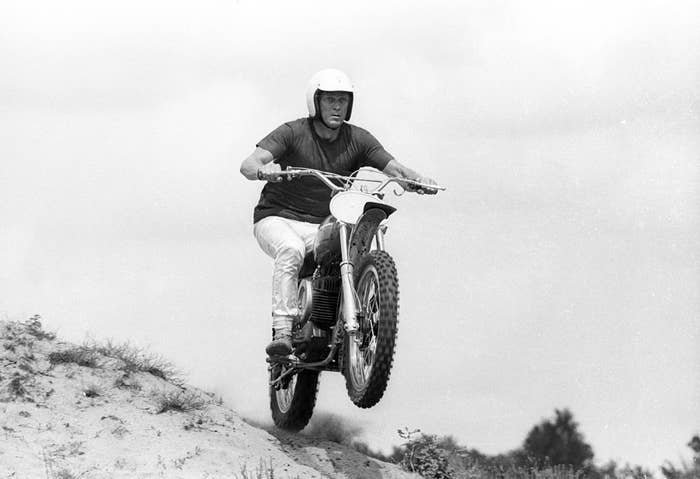Steve raced motorcycles and brought nationwide prominence to everything two wheels with the Oscar nominated 'On Any Sunday', a film he both financed and starred in. Now that's cool.