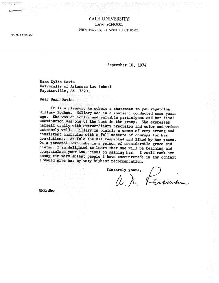 Heres Hillary Clintons Personnel File From Her Time As An – Law School Letter of Recommendation