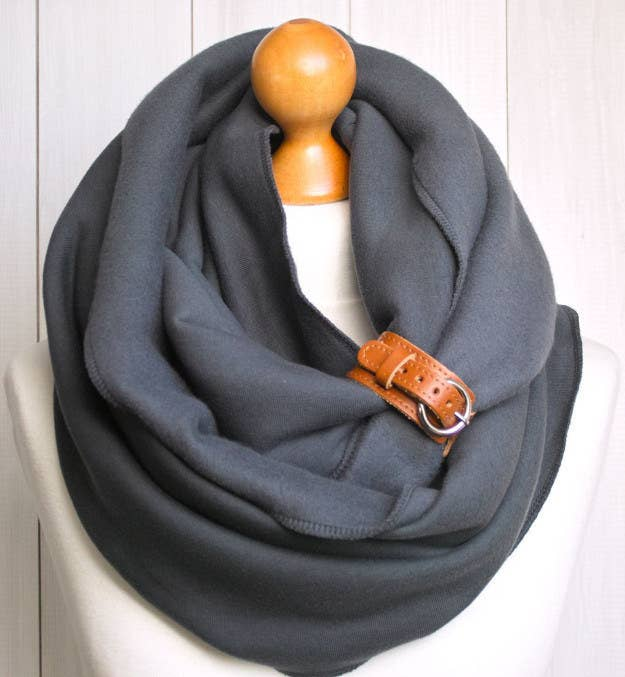 Fleece Cotton and Spandex Infinity Scarf with Leather Cuff, $33.90