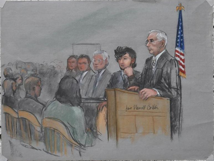 First courtroom sketch from jury selection at the Boston bombing trial.