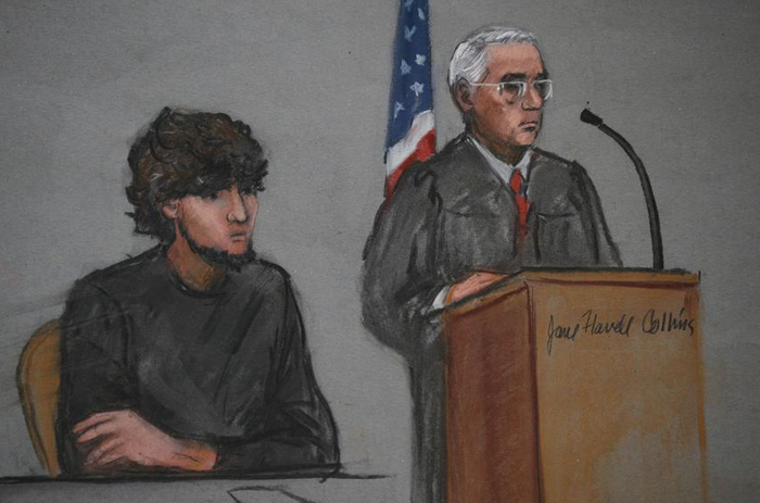 Courtroom sketch from the afternoon session of Boston bombing jury selection.
