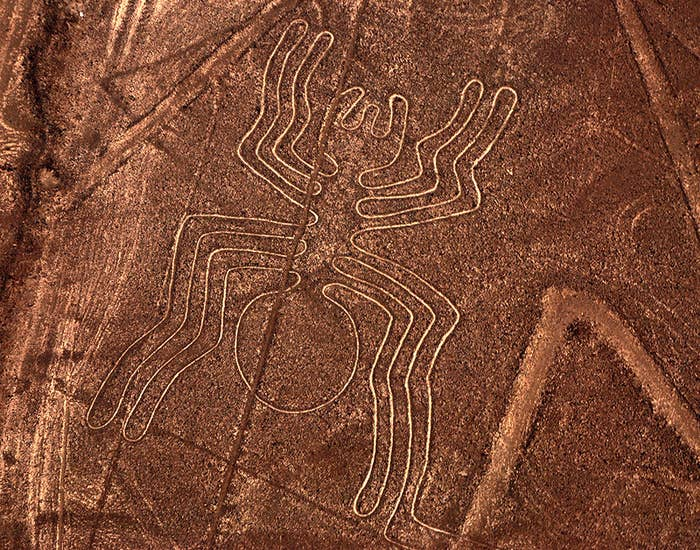 """Created thousands of years ago, the """"Nazca lines"""" are a series of gigantic figures sketched across the desert sands in Peru. They were made by scraping red pebbles against the ground, revealing a lighter-colored sand beneath. Other than the method of their creation, however, no-one knows the figures' meaning. In fact, they were not discovered until the 1930s, when pilots and passengers noticed them. While some speculate that they were made to bring rain, others suspect that they had a higher—much higher—purpose: to communicate with extraterrestrials."""