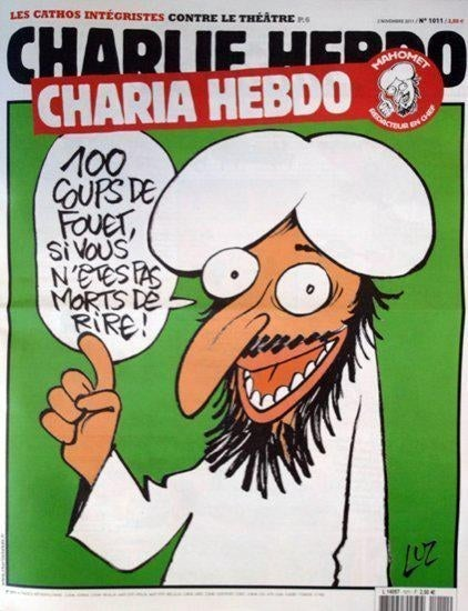 The cartoon of Muhammad that appeared on a 2011 cover of Charlie Hebdo.