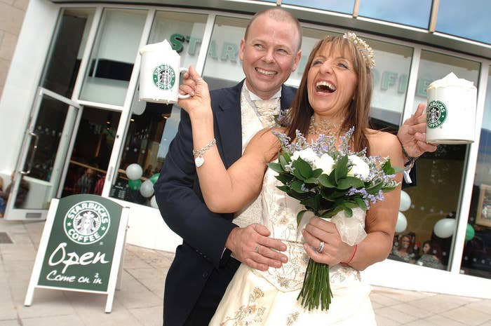 """It's cute, because their first date was at a Starbucks. And their pun-derful vows included this gem: """"I promise to love you a latte."""""""