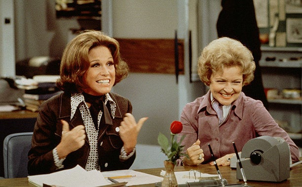 Might as well start at the beginning: Every woman on this list owes MTM a little something. In 1970, Mary Richards (Mary Tyler Moore) hit the little screen right between its man-focused eyes. Along with her BFF, Rhoda (Valerie Harper), Mary faced the challenges of being a modern woman, working for a living and dealing with the stresses of life in the big city of Minneapolis. Groundbreaking for its time, TMTMS featured a single career-oriented female as the title character who was neither grieving the loss of a man nor looking for a new one. Hey, is that Betty White? I didn't know she was young once.