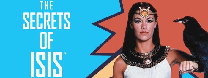 """Mild mannered high school science teacher, Andrea Thomas (Joanna Cameron) needed only to chant """"Oh Mighty Isis"""" to be magically transformed via a golden amulet into the Egyptian goddess Isis with command over animals and the elements in this 1975 live action comic book show. Thus transformed, she called on the forces of nature to aid her in rescuing her unwitting high school students from the dilemma of the week. Occasionally teaming up with Captain Marvel to battle injustice, this teacher-turned-goddess delivered a weekly morality lesson to her young audience. Stay in school, kids."""