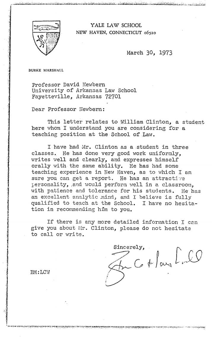 Heres bill clintons personnel file from his time as an arkansas a letter of recommendation for the job from yale professor and former assistant attorney general burke marshall he has an attractive personality mitanshu Choice Image