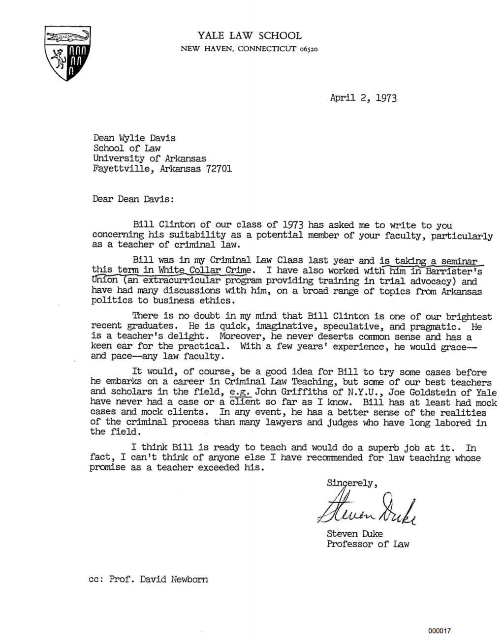letter of acceptance here s bill clinton s personnel file from his time as an 30517
