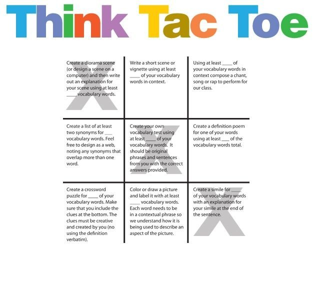 the think tac toe method for students in the classrooms Use these videos as the starting point for learning in your classroom maths maths mental my idea is a tic-tac-toe game and mostly anything you can think of.