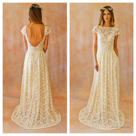 Backless Wedding Dress with Pockets
