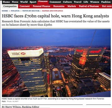 This Is The Critical HSBC Story Deleted From The Daily Telegraph Website