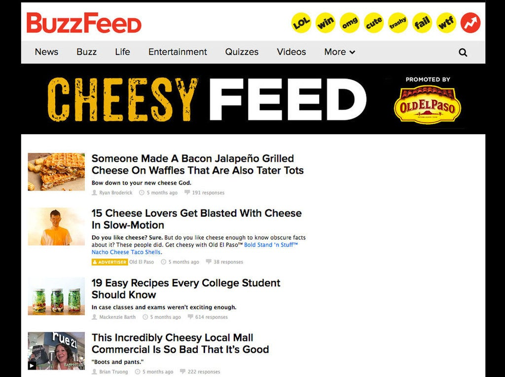 Branded Cheesy Feed with BuzzFeed content