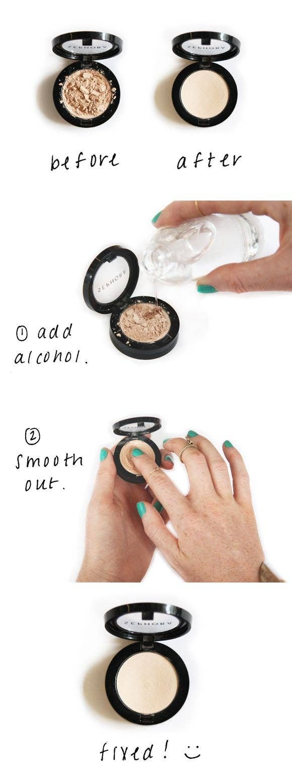 Put All Of The Little Pieces Of Cracked Makeup Into Yourpact Then, Pour